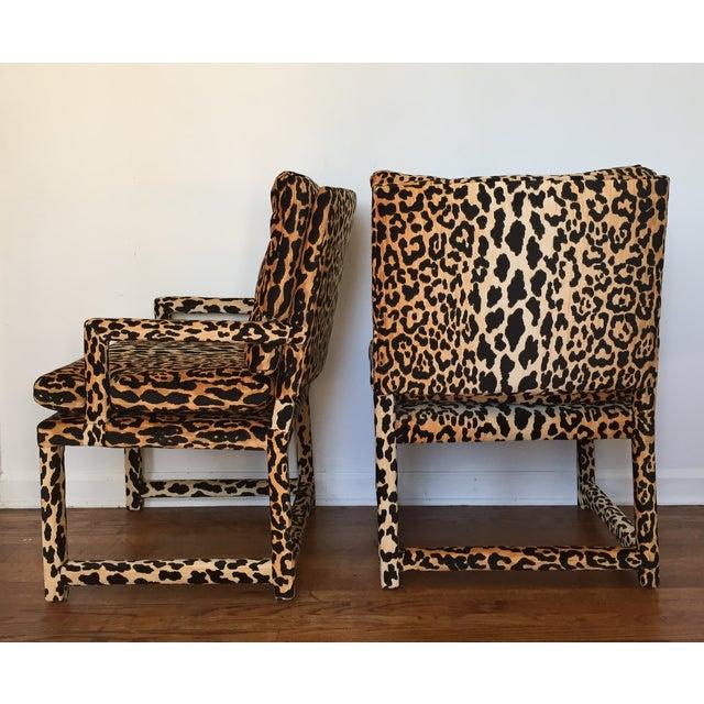 Vintage Style Chairs: Milo Baughman Style Vintage Leopard Parsons Chairs