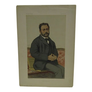 "Vintage Vanity Fair Print - ""French Realism"" Emile Zola, January 24, 1880"