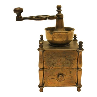19th Century European Solid Brass Coffee Mill