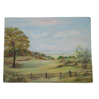 Vintage Field and Fence Oil Painting Art