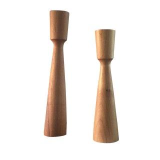 Wooden Aiden Candlesticks - a Pair