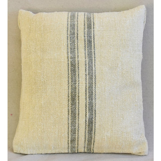 Custom French Gray Stripe Gain Sack Feather/Down Pillows - Pair - Image 4 of 8