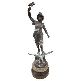 Old French Art Nouveau Metal Statue of La Nuit