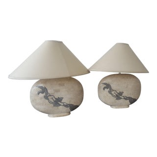 Solid Marble Table Lamps - A Pair