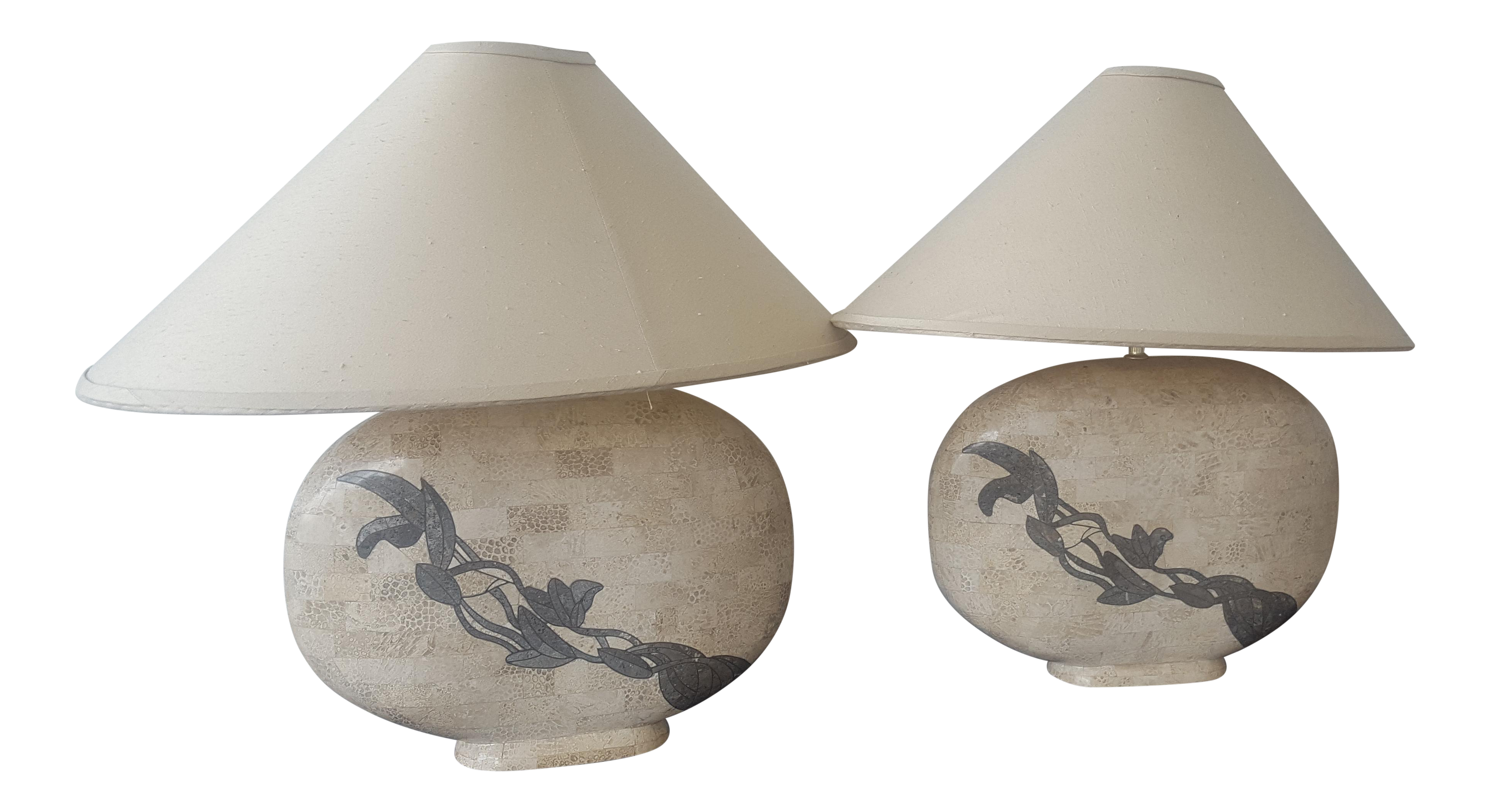 Solid Marble Table Lamps   A Pair