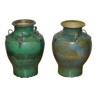 Pair of Green & Blue Glazed Handled Urns