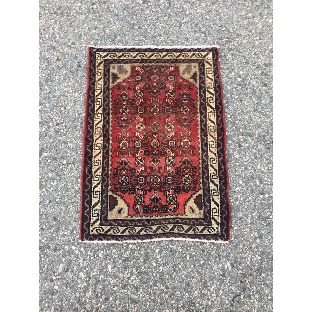 Red navy hamadan persian rug 1 39 11 x 2 39 9 chairish for Red and navy rug