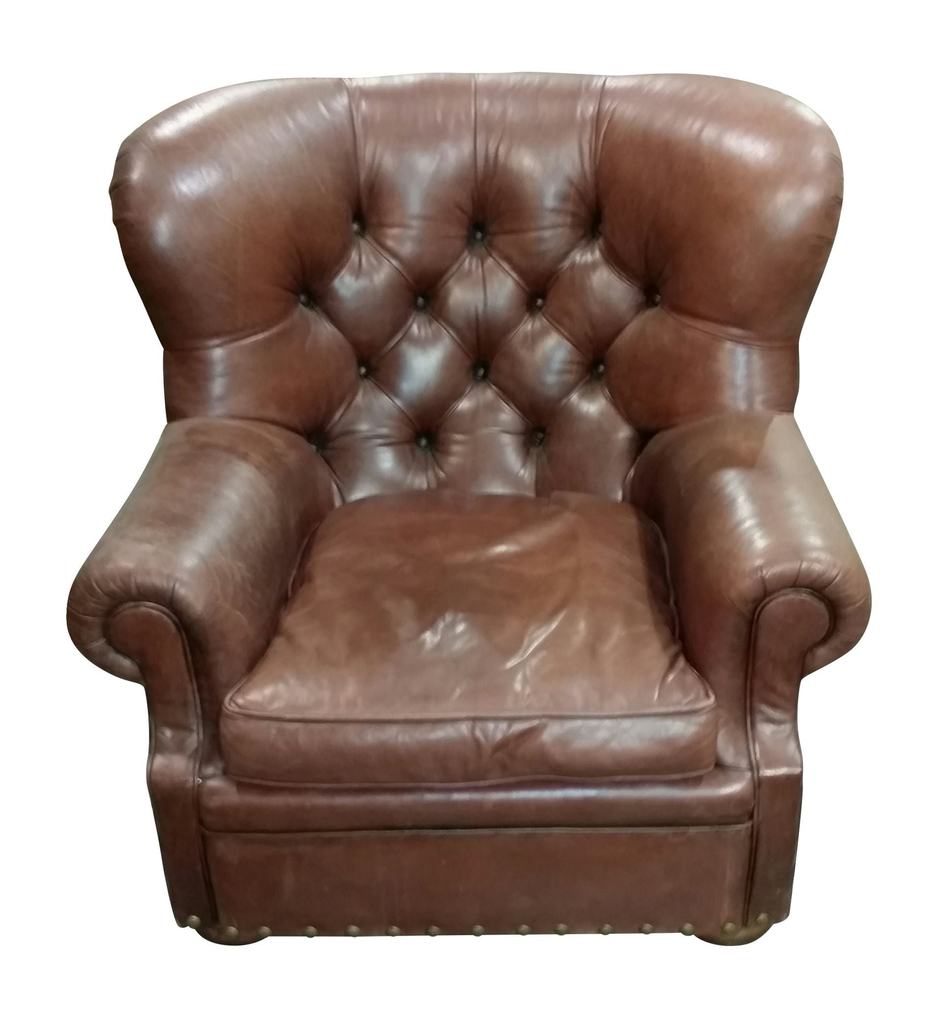Awesome Vintage Ralph Lauren Leather Chair With Ottoman   Image 5 Of 7