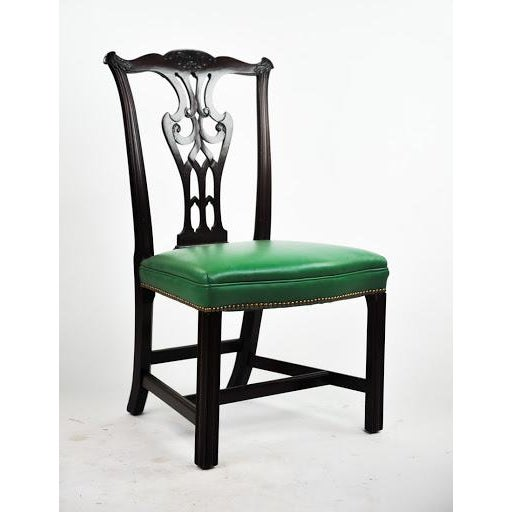 Green Vinyl Upholstered Chippendale Dining Chairs - Set of 6 - Image 4 of 10
