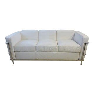 Classic LeCorbusier White Petite Sofa by Mondani