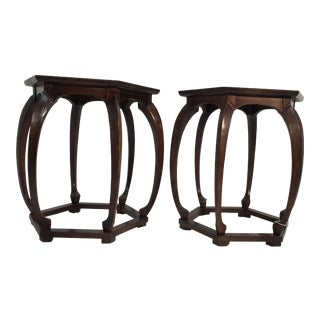 Baker Furniture Asian Style Side Tables - A Pair