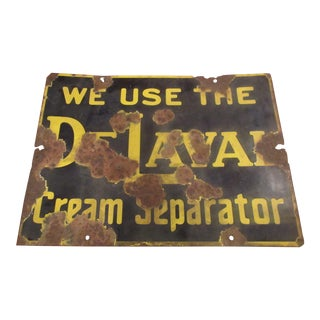Vintage Worn Porcelain De Laval Cream Separator Sign