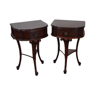 Mahogany Demilune 1 Drawer Plume Base Regency Style Nightstands - a Pair