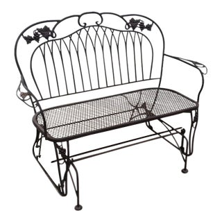 Vintage O.W. Lee Wrought Iron Loveseat Swing