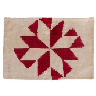 Vintage Red Silk Velvet Geometric Ikat Pillow