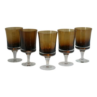 Mid-Century Modern Denby Hand Blown Stemmed Amber Water Glasses - Set of 5