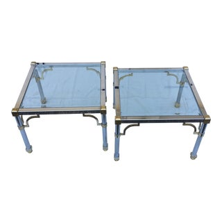Maison Jansen Chrome & Brass Side Tables - a Pair