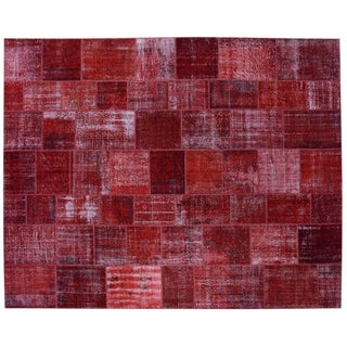 """Red Patchwork Overdyed Rug - 12' X 15'3"""""""