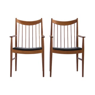 Arne Vodder Teak Captain Dining Chairs - A Pair