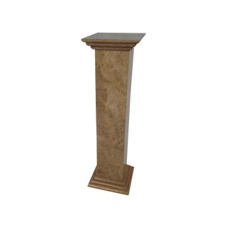 Designer Tan Travertine Plant Stand