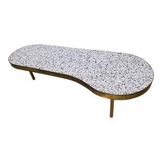 Mid-Century Modern Italian Brass & Mosaic Tile Top Kidney Form Coffee Table
