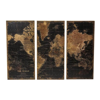 Wood Standford World Map Wall Triptych - Set of 3