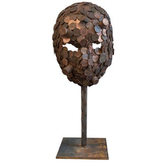 "Mosaic ""Pennyface"" Mask on Stand"
