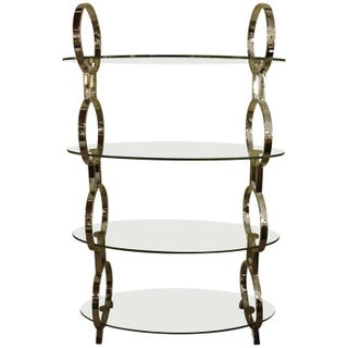 Contempory Chrome & Glass Hollywood Regency Style Etagere