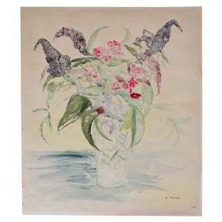 Original Vintage Watercolor Floral Still Life Painting