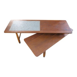 Vintage Lane Furniture Mid Century Modern Walnut and Tile Pivoting Coffee Table