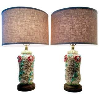 Mid-Century Organic Form Ceramic Pottery Table Lamps - A Pair