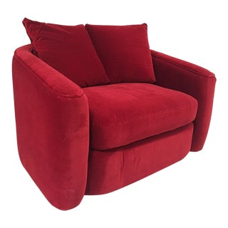 Red Swiveling Armchair & Pillows
