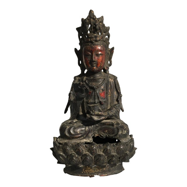Chinese Lacquer Gilt Bronze Figure of Guanyin, late Ming Dynasty - Image 1 of 11