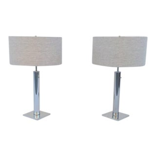 Polished Chrome Table Lamps by Nessen - A Pair
