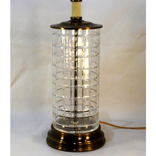 tartan crystal table lamp with brass base chairish. Black Bedroom Furniture Sets. Home Design Ideas
