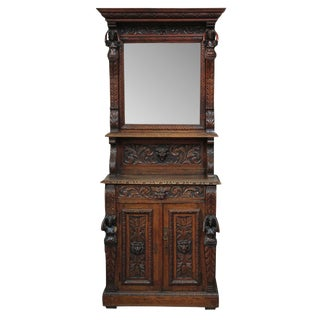 19th c. French Henri II Hall Cabinet