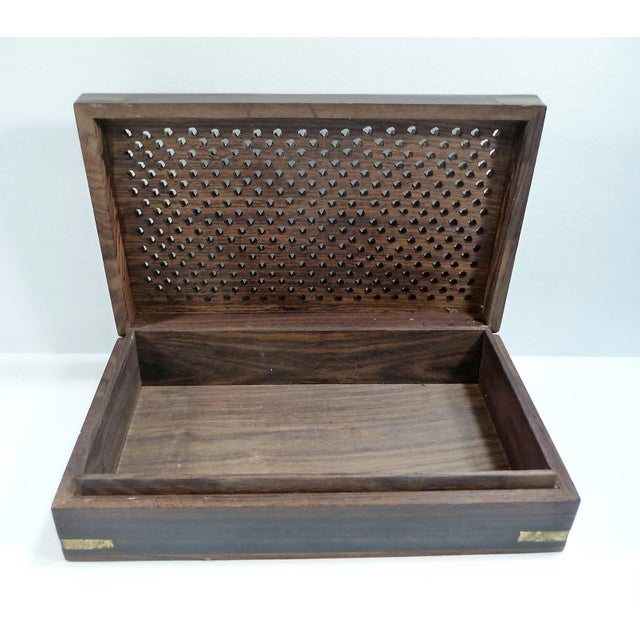 Vintage Pierced Wood Box - Image 6 of 7