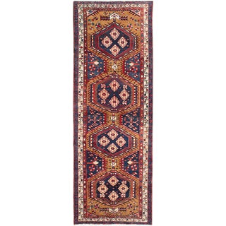 "Vintage Persian Meshkin Rug- 3'8"" x 10'4"""