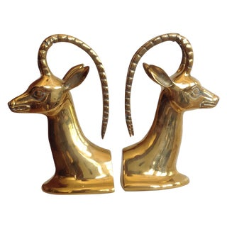 Brass Ibex Bookends - Pair