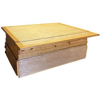 Industrial Oak Coffee Table with Flip-Top