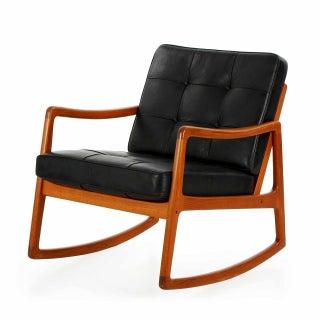 Ole Wanscher Danish Modern Teak Leather Rocking Chair