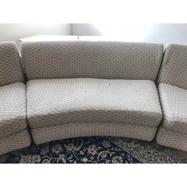 Curved Keller-Williams Vintage Mid Century Sectional Sofa - 3 Pieces - Image 5 of 9