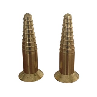 Vintage Brass Salt & Pepper Shakers - Pair