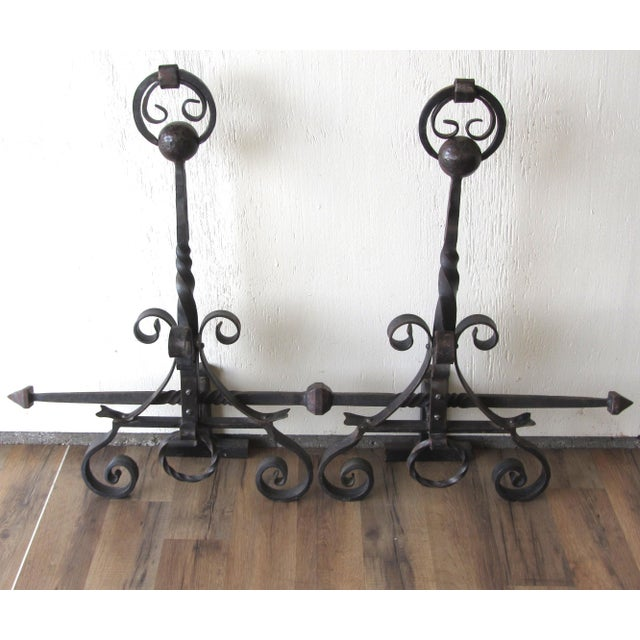 Hand Forged Wrought Iron Andirons - A Pair - Image 3 of 4