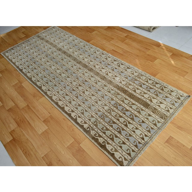 Hand-Knotted Turkish Antique Effect Rug - 3′ X 7′ - Image 9 of 9