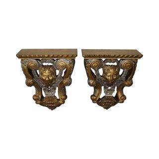 Maitland Smith Lion Carved Gilt Wall Shelves - A Pair