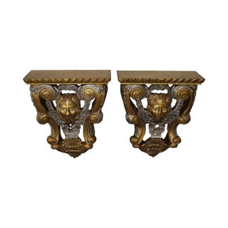 Maitland Smith Pair of Lion Carved Gilt Wall Shelves