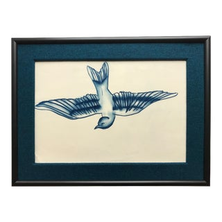 Framed Falling Bird Pastel Drawing 2016