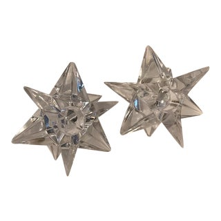 Vintage Rosenthal Crystal Star Candle Holders- A Pair