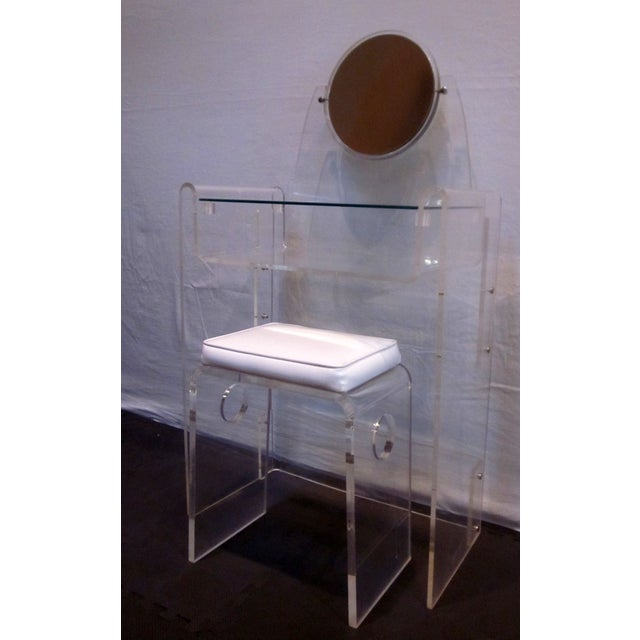 Lucite Vanity Stool Mirror Hollywood Regency - Image 8 of 10